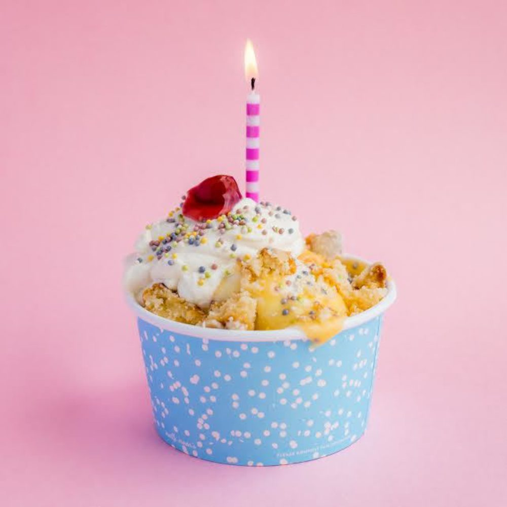 Molly Moons Is 10 Were Celebrating All Month With A Super Yummy Birthday Cake Sundae Our Homemade Ice Cream Topped House Made